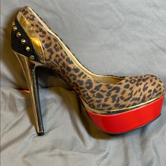 Guess Shoes - Gold spiked Stilettos Leopard print red bottom